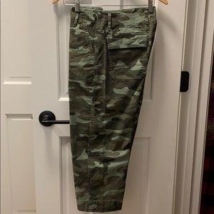 High-rise cropped wide leg camo cargo pants